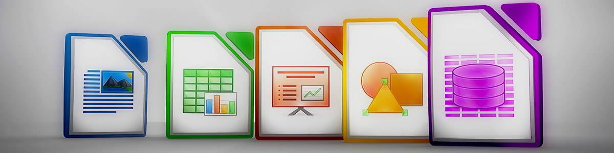 Iconos de los diferentes programas que incluye este paquete ofimático.